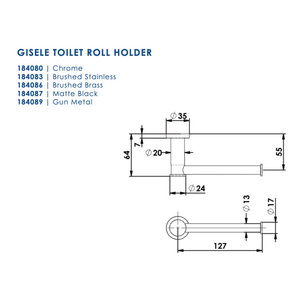 Greens Gisele Toilet Roll Holder | Brushed Stainless