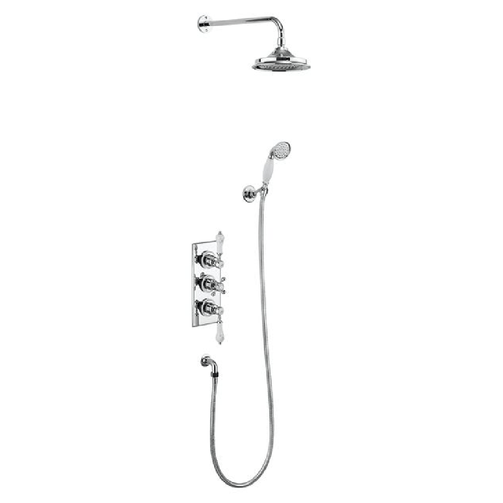 Burlington Trent Thermostatic Two Outlet Concealed Shower Valve, Fixed Shower Arm, Handset & Holder with Hose | Chrome