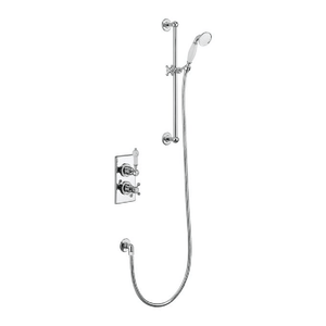 Burlington Trent Thermostatic Single Outlet Concealed Shower Valve with Rail, Hose & Handset | Chrome