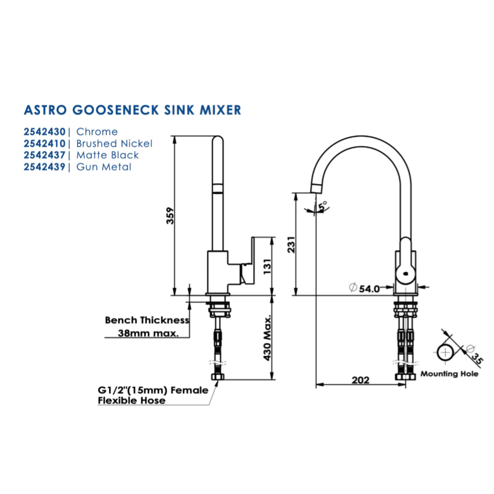 Greens Astro Gooseneck Sink Mixer | Brushed Nickel