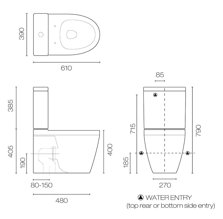 Compact Back to Wall Toilet