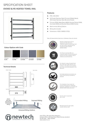 Newtech Evoke 5 Bar Heated Towel Ladder 530mm | Gunmetal