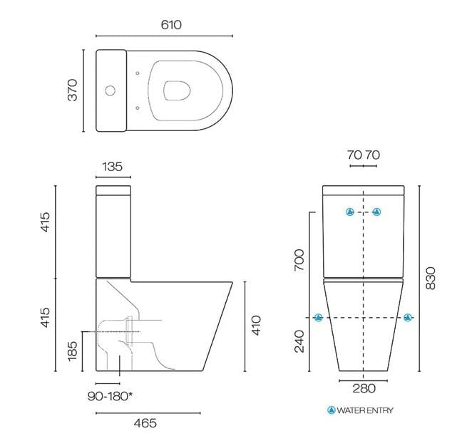 Evo Back to Wall Toilet with Standard Seat