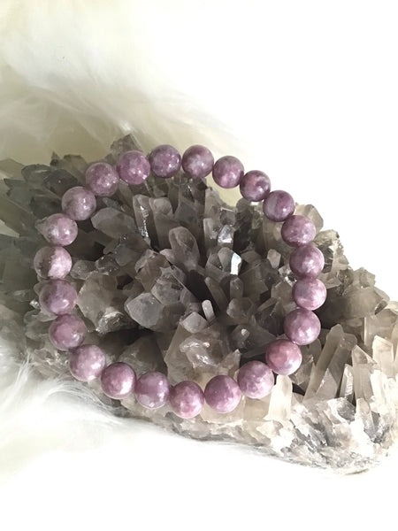 8mm Lepidolite Beaded Bracelet