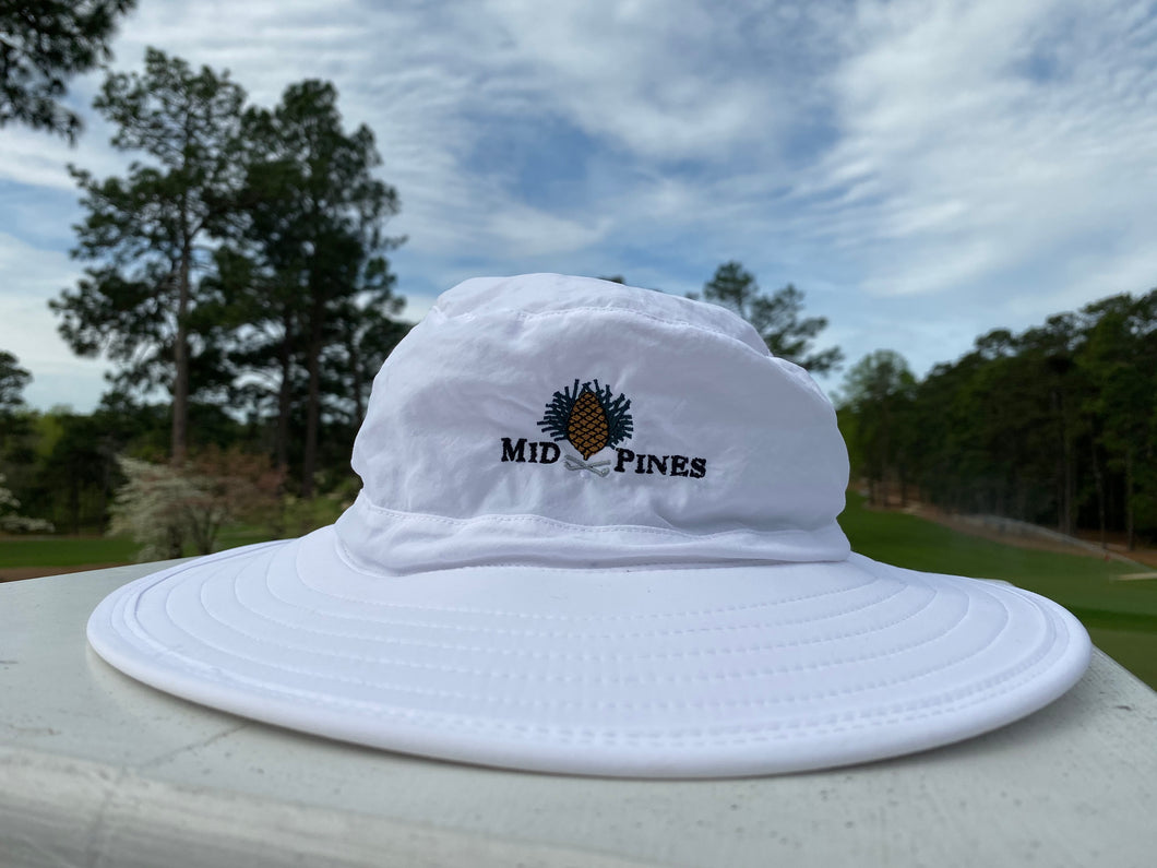white bucket hat with Mid Pines logo