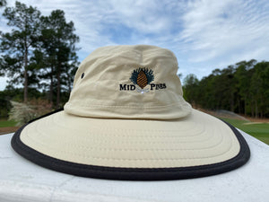 tan bucket hat with black rim