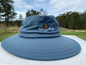 Blue bucket hat with Mid Pines logo
