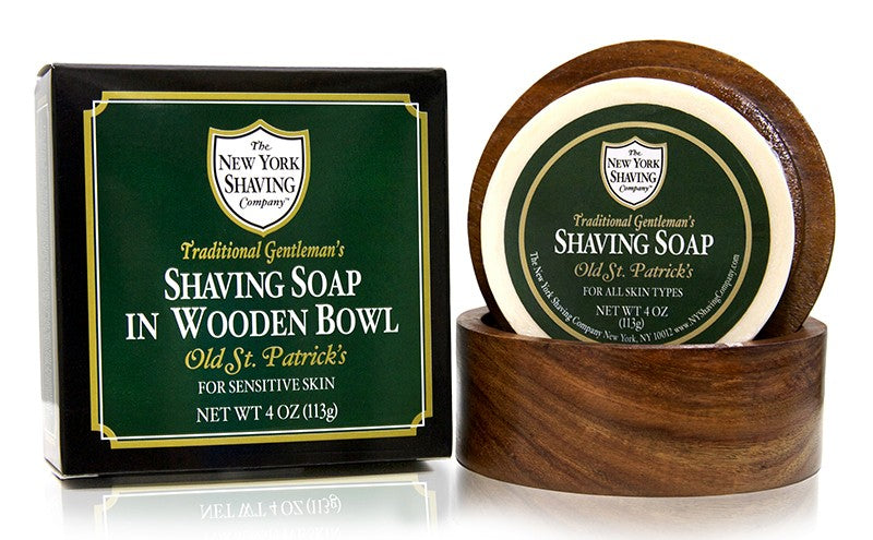 Old St. Patrick's Shaving Soap in Wooden Bowl - 4 oz