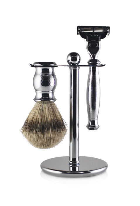 Engraved Nickel Mach 3 Shaving Set