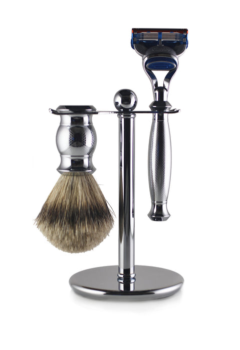 Engraved Nickel Fusion Shaving Set