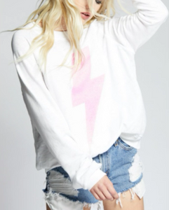 Acdc Pink Bolt L/S Pullover - WHT