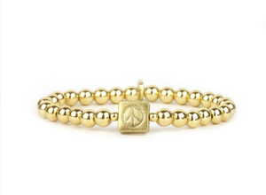 Beaded Peace Sign Stretch Bracelet - GOLD