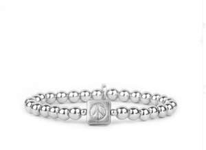 Beaded Peace Sign Stretch Bracelet - SILVER