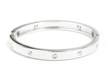 Load image into Gallery viewer, Bolt + Crystal Cuff Bracelet - SILVER/CLEAR