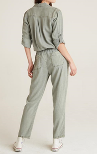 Button Front Roll Slv Jumpsuit - SOFTARMY