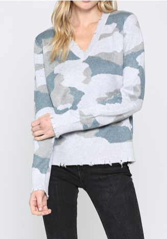 Camo V Neck Sweater - DENIM/GR