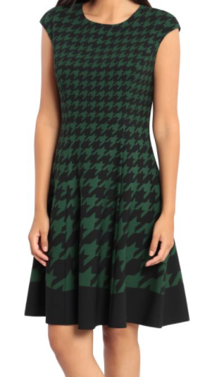 Cap Sleeve Fit & Flare Dress - BLK/GRN