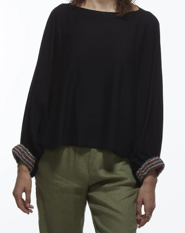 Cocoon Top with Striped Cuff - BLACK COMBO