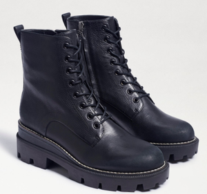 Distressed Combat Boot With Inside Zip - BLACK
