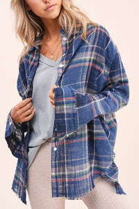 Distrss'd Plaid Btn Down Shrt - NAVY