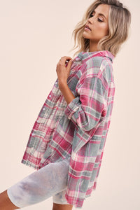 Distrss'd Plaid Btn Down Shrt - PINK