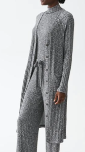 Ella V-Neck Long Cardigan - HEATHER GREY