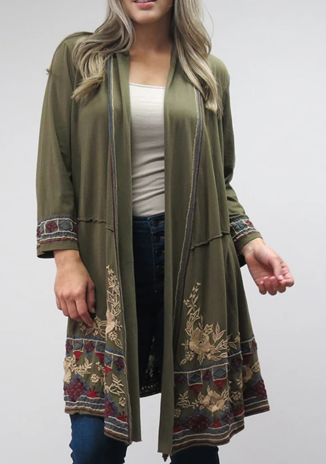 Embroidered Long Open Jacket - SEAWEED