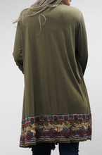 Load image into Gallery viewer, Embroidered Long Open Jacket - SEAWEED