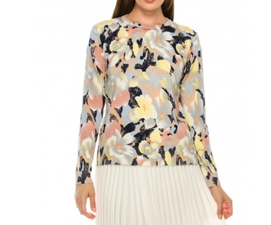 Floral Crew Neck Sweater - FLORAL