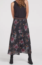 Load image into Gallery viewer, Floral Mesh Maxi Skirt - BLACK
