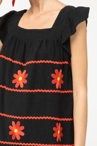 Flower Stripe Ruffle Sleeve - BLACK