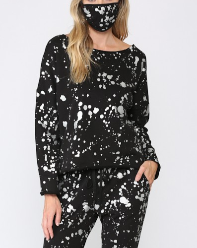 Foil Paint Splatter Sweatshirt with Matching Mask - BLACK