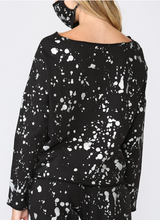 Load image into Gallery viewer, Foil Paint Splatter Sweatshirt with Matching Mask - BLACK