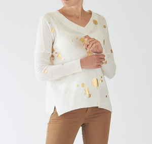 Gold Foil Harriet V-Neck - WHITE/GOLD