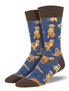 Golden Retriever Mens Socks  - BLUE