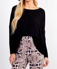 Load image into Gallery viewer, Hi Lo Dolman Sleeve Pullover - BLK