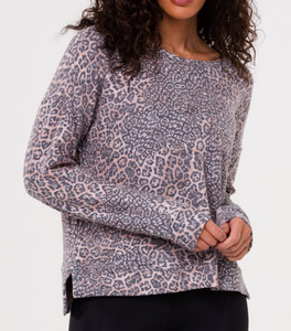 Hi Low Printed Crew Nk Sweater - POUNCE