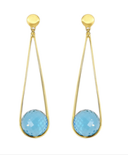 Load image into Gallery viewer, Ipanema Earrings - GOLD/BLUE TOPAZ