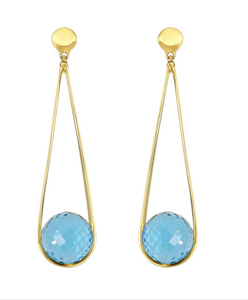 Ipanema Earrings - GOLD/BLUE TOPAZ