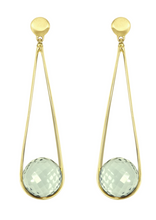 Load image into Gallery viewer, Ipanema Earrings - GOLD/GREEN AMETHYST