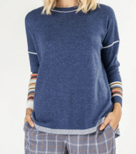 Load image into Gallery viewer, Knit Back Pullover Sweater - DENIM COMBO