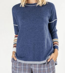 Knit Back Pullover Sweater - DENIM COMBO