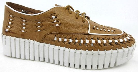 Lace Up Moc With Contrast Stitch - DKTAN/WH