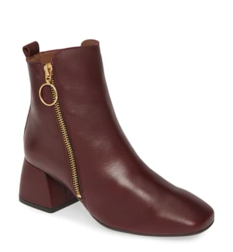 Leather Ring Zip Bootie - DK RED