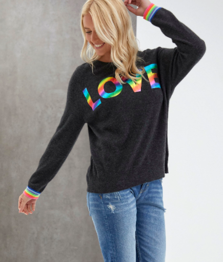 Love Rainbow Sweater - CHARCOAL