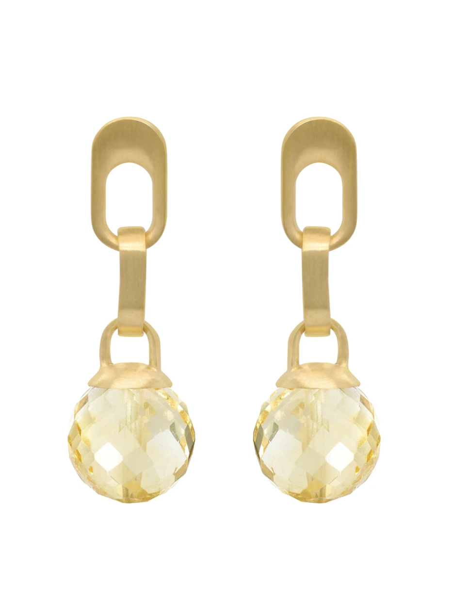 Manhattan Gem Drop Earrings - GOLD/CITRINE