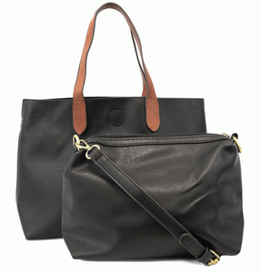 Mariah Medium Convertable Tote - BLACK