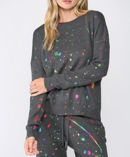 Paint Spatter Crew Neck Sweater - CHARCOAL