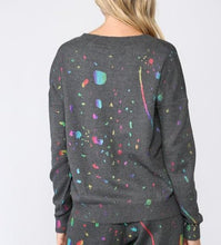 Load image into Gallery viewer, Paint Spatter Crew Neck Sweater - CHARCOAL