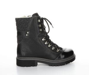 Patent Toe Leather Waterproof Boot - BLACK